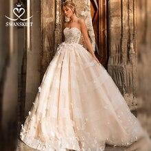 Romantische 3D Vlinder Trouwjurk 2020 Swanskirt Applicaties A lijn Prinses Lace Up Bruid Gown Vestido De Noiva N101