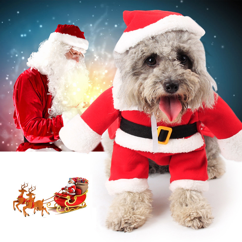 Funny Santa Claus Pet Costume Dog Cat Clothes Hat Apparel Christmas Cosplay Puppy Coat Jacket Winter Pet Clothing Set Size Xs-xl