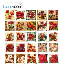 Cross Stitch Pillow Mat DIY Craft Flower Tapestry 42CM by Needlework Crocheting Cushion Embroidery