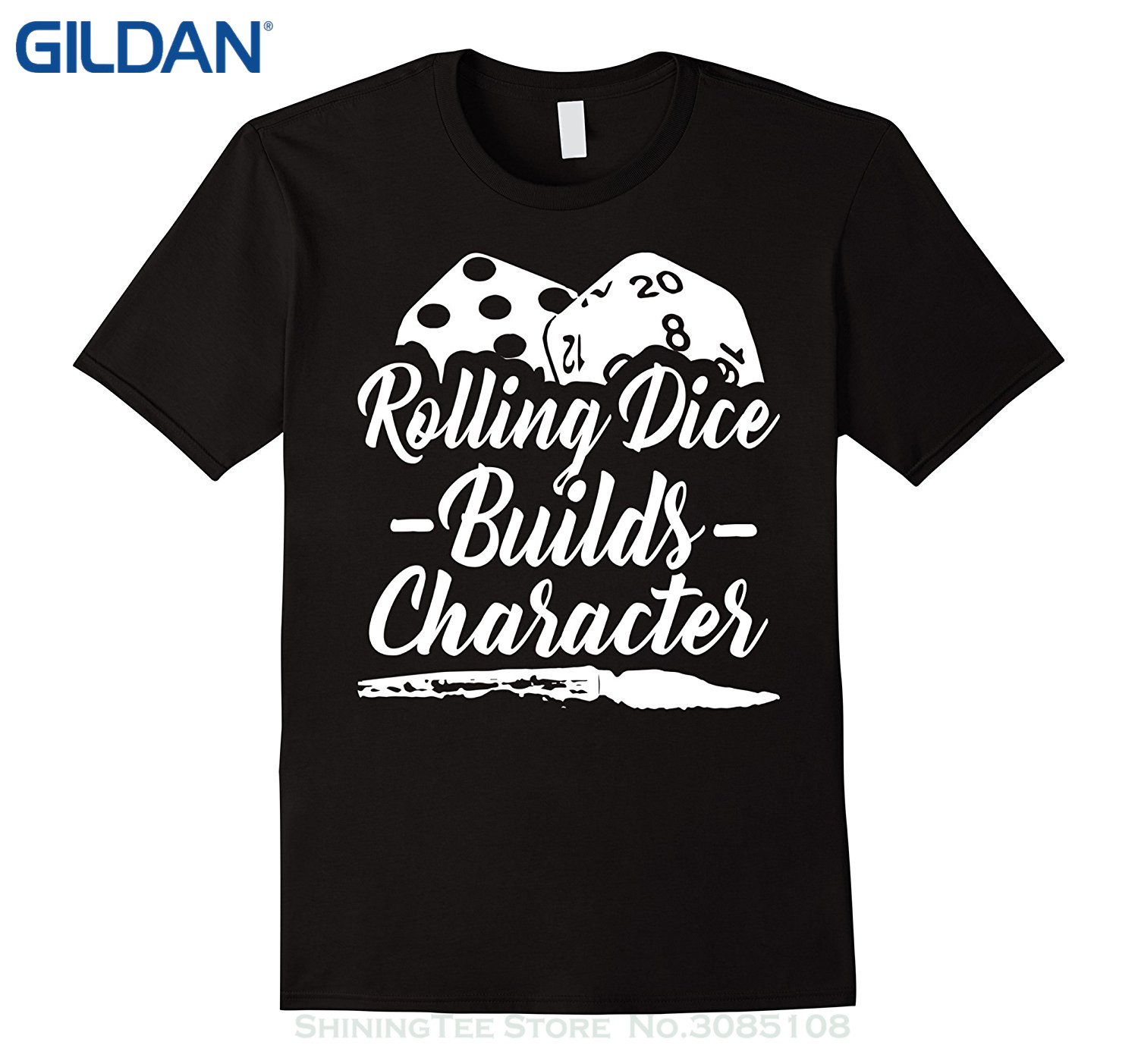 GILDAN For Man Hipster O-neck Causal Cool Tops Rolling Dice Builds Character T-shirt. Ta ...