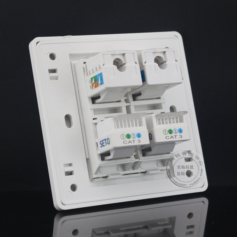Gigabit Wall Plate 4 Ports Double RJ45 Cat6 Network LAN & Double RJ11 Cat3 Telephone Panel Faceplate