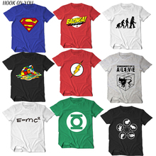 The Big Bang Theory T-shirt Sheldon Cooper super hero green lantern the flash cosplay t shirts men w