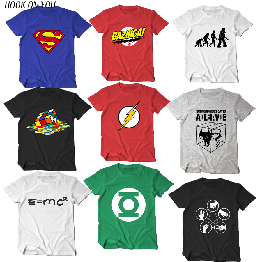 The Big Bang Theory   T  -  shirt   Sheldon Cooper super hero green lantern the flash cosplay   t     shirts   men women geek tee TBBT tshirt