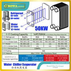 14TR/50KW Evaporator of water chiller greater efficiency, low hold-up volume, easy maintenance, expandability and flexibility