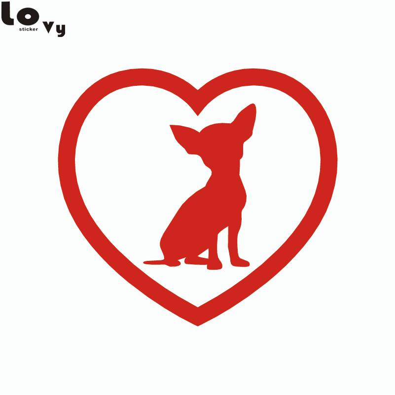 2st Söt Chihuahua Heart Dog Car Sticker Tecknad djurfönster - Exteriör biltillbehör - Foto 3