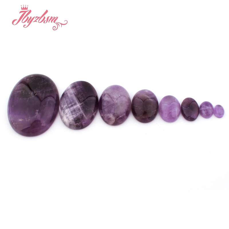 10pcs Natural Amethyst Flatback Stone Cabochons Oval Domed Setting Cabs 25x18mm
