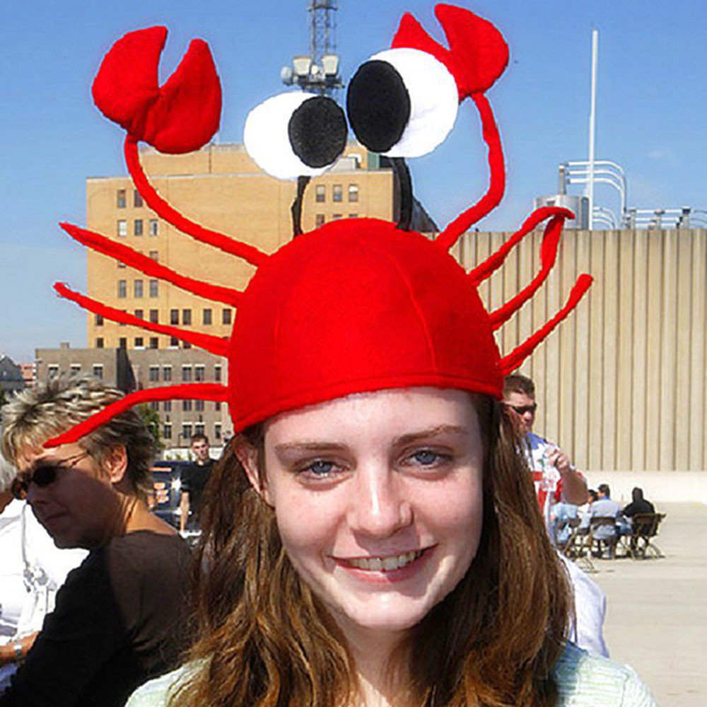 2017 New Design Adult Childrens Christmas Santa Claus Cap Funny Cute Red Crab Hat Xmas Cap Gift Holiday Party Costumes Free Size