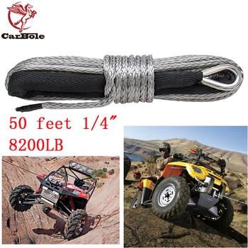 CARBOLE 1/4 x 50 Gray-black Synthetic Winch Rope Line Cable 6mm 8200LB Capacity ATV UTV  W/Sheath GRN Maintenance Towing