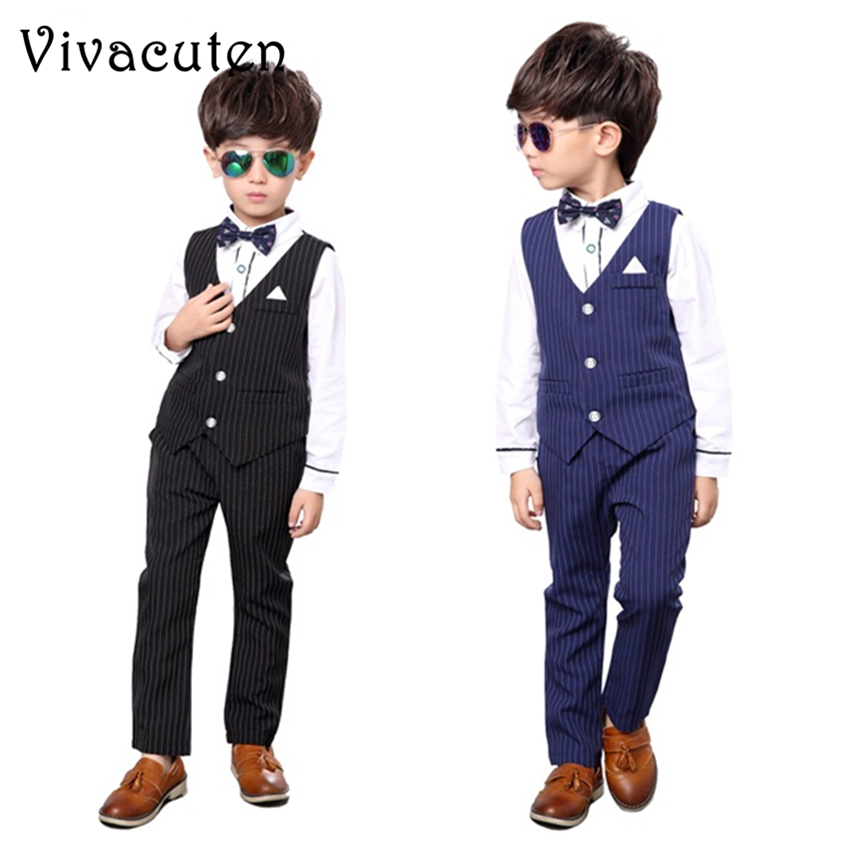 New Brand Boys Wedding Vest Shirt Pants 3pcs Suit Birthday Dress Fashion Formal Gentle Kids Suit Set Children Clothing Set F050 gentleman kids sets 2018 fashion boys vest shirt pants 3pcs kids wedding party clothing ceremony children set formal suit f051
