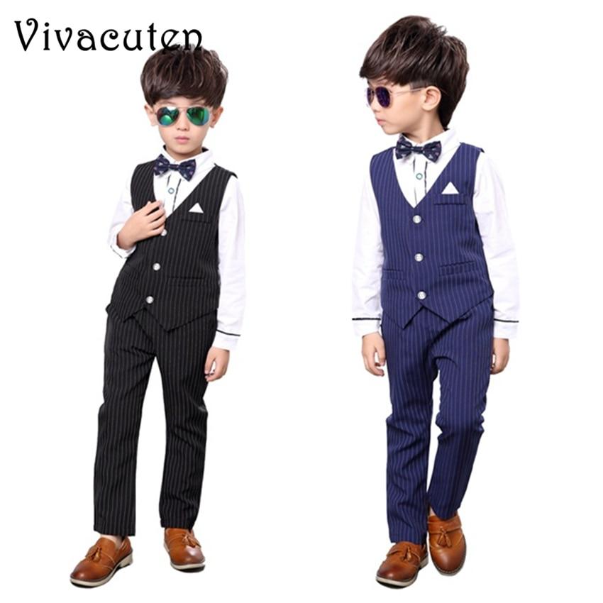 New Brand Boys Wedding Vest Shirt Pants 3pcs Suit Birthday Dress Fashion Formal Gentle Kids Suit Set Children Clothing Set F050
