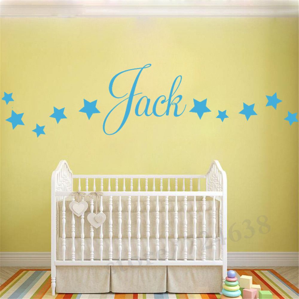 Baby Boys Wall Sticker Personalised Stars Child Name Bedroom Nursery ...