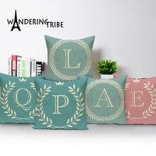 45x45 см детская декоративная подушка с буквенным принтом, Английский алфавит, чехол для подушки из полиэстера для дивана, домашнее украшение, наволочка с листом