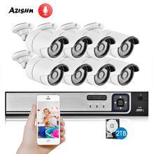 Azishn H.265 Cctv Systeem 8CH 4.0MP Poe Nvr Kit Audio Sound Cctv Ip Camera IP66 Security P2P Outdoor Video Surveillance nvr Set