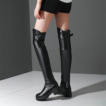 NAYIDUYUN  Thigh High Shoes Women Winter Over The Knee Boots Tall Shaft Punk Party Motorcycle Long Oxfords Buckle