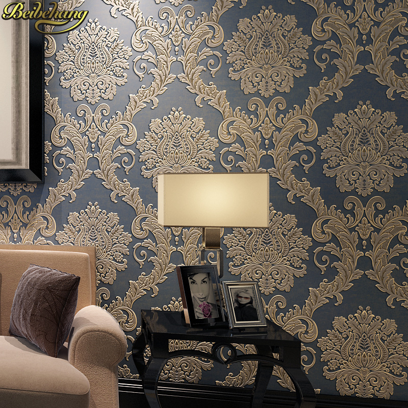 beibehang papel de parede 3D European embossed Damascus wallpaper for walls 3 d roll living room bedroom wall papers home decor large mural papel de parede european nostalgia abstract flower and bird wallpaper living room sofa tv wall bedroom 3d wallpaper