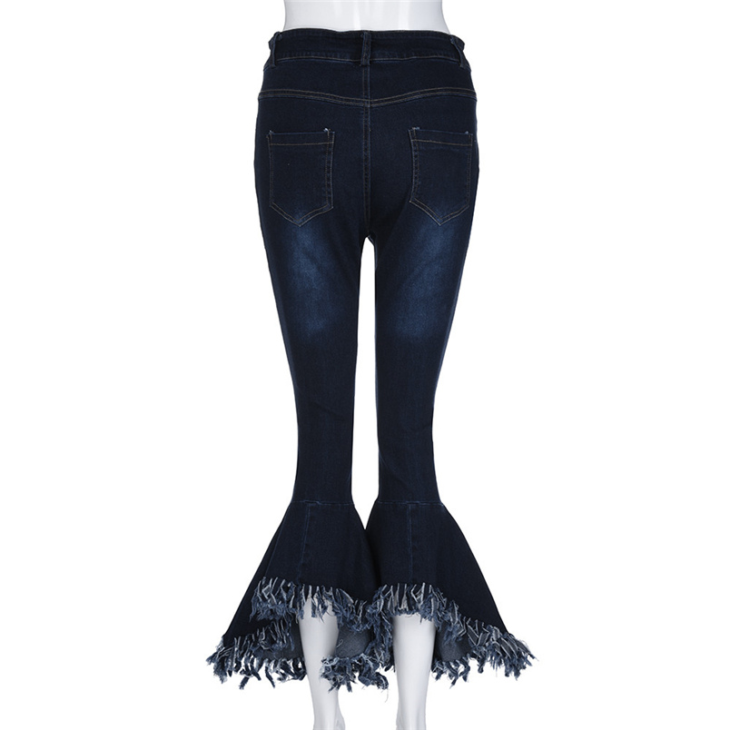 Fashion Women Hight Waisted Skinny Hole Denim Jeans Flare Pants Stretch Slim Pants Bell-bottoms Casual Jean Lady Jeans #K29 (8)