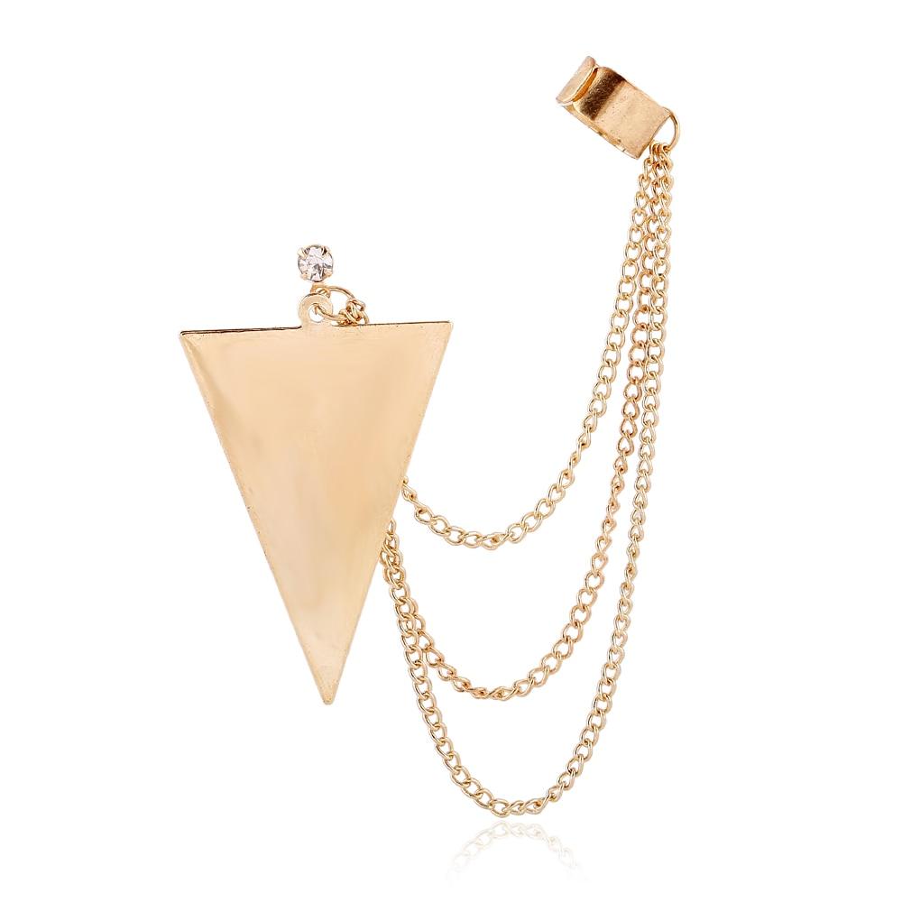 DIDNOT Triangle Tassel Long Chain Fashion Clip Earrings ...