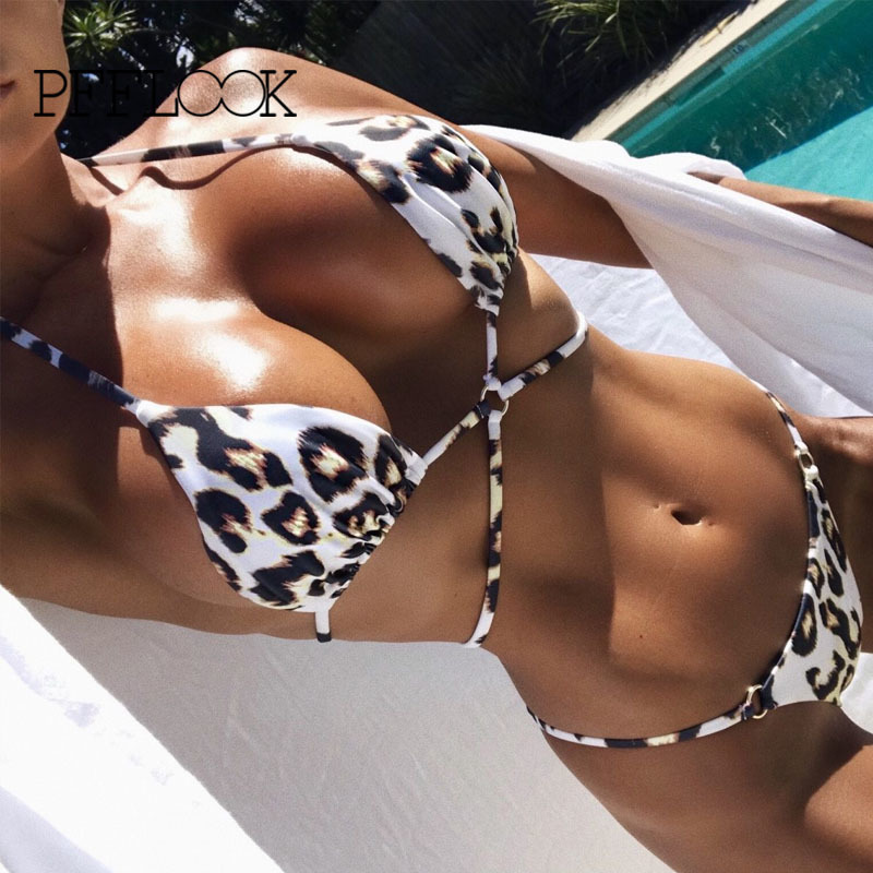 PFFLOOK Leopard <font><b>Sexy</b></font> Two Piece <font><b>Set</b></font> Halter Deep V Neck Party 2 Piece <font><b>Set</b></font> <font><b>2019</b></font> Print <font><b>Summer</b></font> Two Piece Outfits For Women image