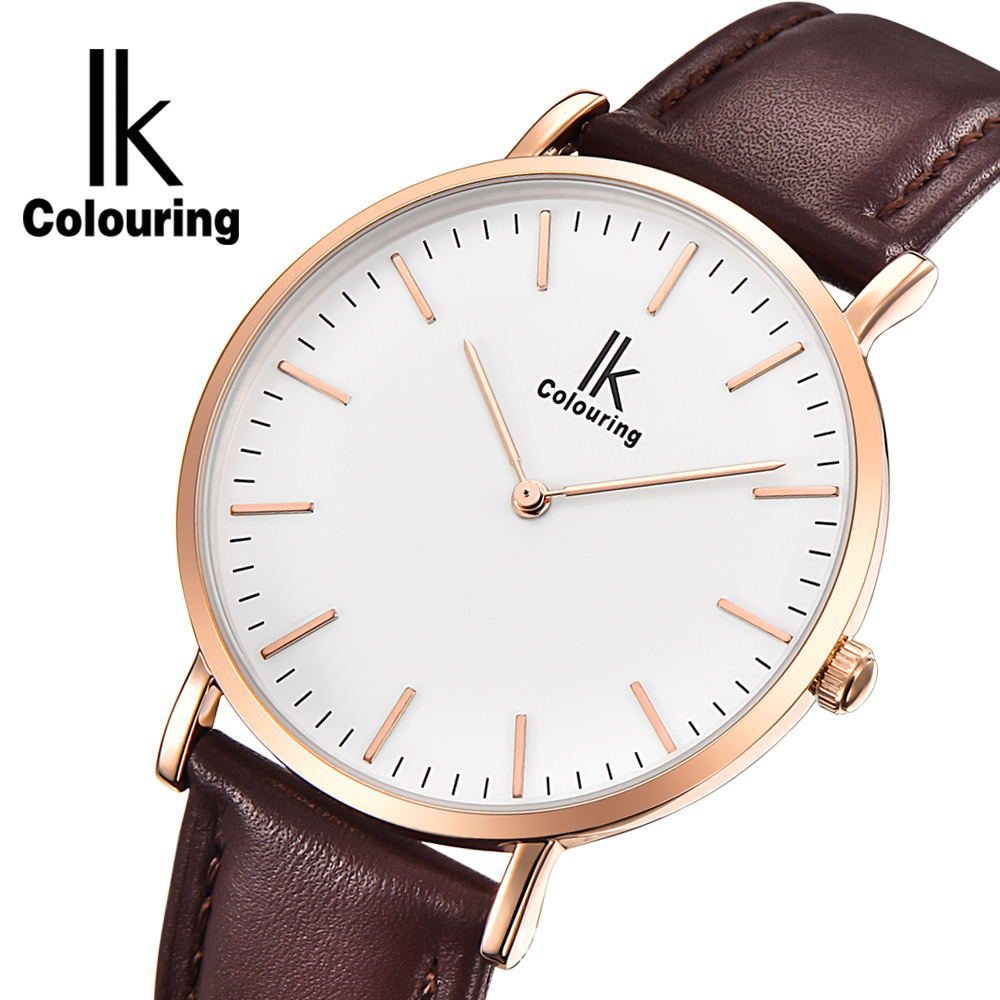 IK colouring Ultra Thin Couple watch Mens Women Lovers Gold Watches Brand Luxury Leather Strap Fashion Casual Quartz Watch popular black skull sports watch silicone bands touch screen led watch women mens free shipping gitt for lovers couple