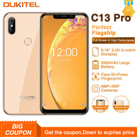 OUKITEL C13 Pro 2GB 16GB Android 9.0 5G/2.4G WIFI Mobile Phone MT6739 Quad Core 2GB 16GB 6.18 19:9 FACE ID 4G LTE Smartphone