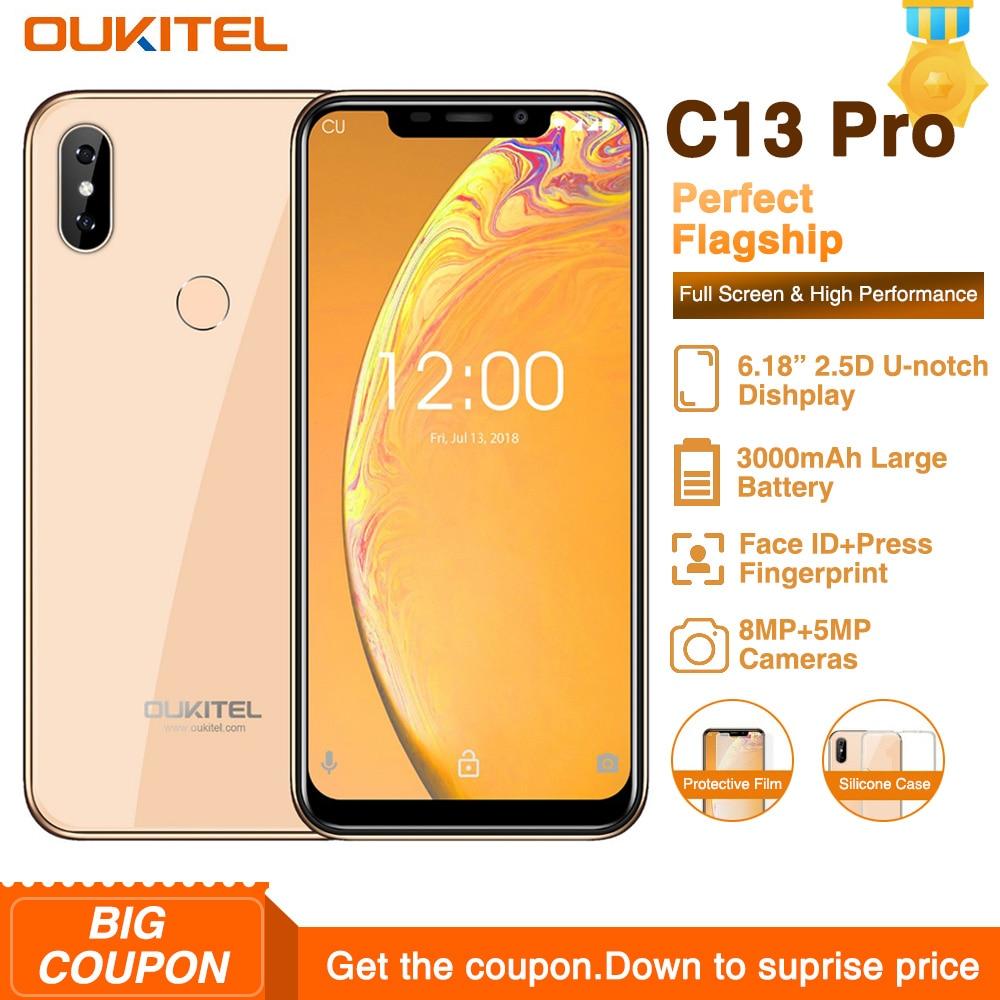 "OUKITEL C13 Pro 2GB 16GB Android 9.0 5G/2.4G WIFI Mobile Phone MT6739 Quad Core 2GB 16GB 6.18"" 19:9 FACE ID 4G LTE Smartphone"