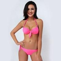 #2062 2017 Néon biquinis Bonbons couleur Grande taille maillots de bain Mini bikini À Armatures Biquinis feminino Maillots De Bain femmes maillot de bain