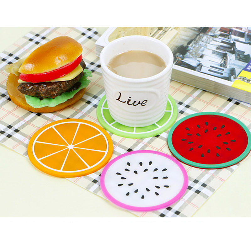 5PCS lot placemat stand for hot coasters kitchen table mats Pad Slip Holder Silicone cup mat Fruit drink Coffee Mike coaster in Mats Pads from Home Garden