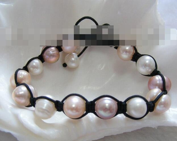 FREE SHIPPING>>>@@ > 03773 white pink natural freshwater pearls bracelet