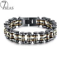 7SEAS Men Bike Chain Bracelet Stainless Steel Biker Bicycle Motorcycle Link Chain Punk Heavy Jewelry 15mm