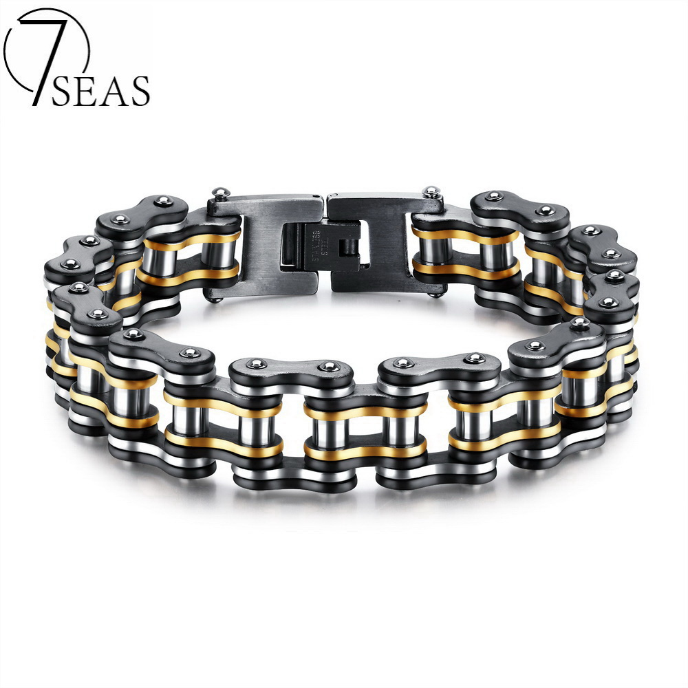 7SEAS Men Bike Chain Bracelet Stainless Steel Biker Bicycle Motorcycle Link Chain Punk Heavy Jewelry 15mm Wide Dropshiping GS877 бра mantra eve 1174