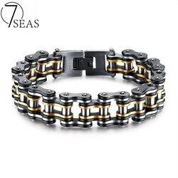 7SEAS Men Bike Chain Bracelet Stainless Steel Biker Bicycle Motorcycle Link Chain Punk Heavy Jewelry 15mm Wide Dropshipping GS877