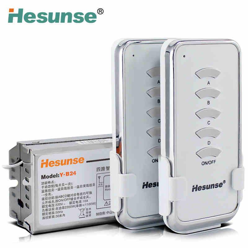 Wireless Remote Light Switch: Y-B24 2N1 220V 4 Ch RF Digital Wireless Remote Control Light Switch 2 Remote,Lighting