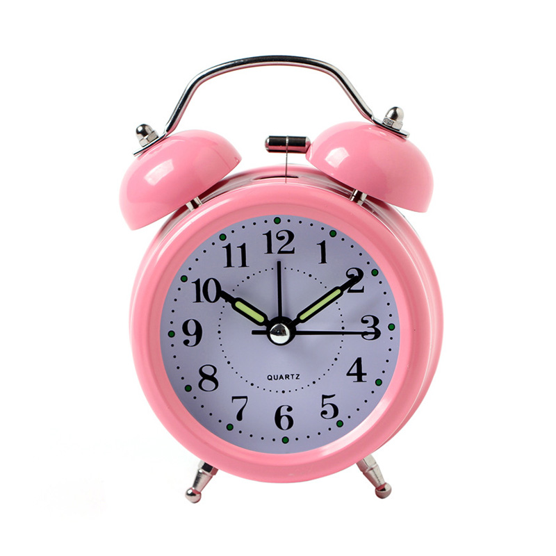Vintage Alarm Clock Bedroom Office Bedside Desk Table Clock Double Bell Silent No Ticking Alarm Clock Battery Operated
