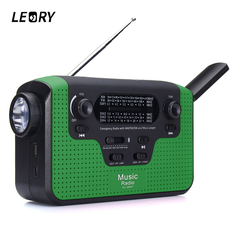 LEORY Portable Outdoor Bluetooth Hand Crank Solar Emergency Radio FM MW SW World Bands Receiver 12 LED Solar Dynamo Light Radios 5pcs pocket radio 9k portable dsp fm mw sw receiver emergency radio digital alarm clock automatic search radio station y4408