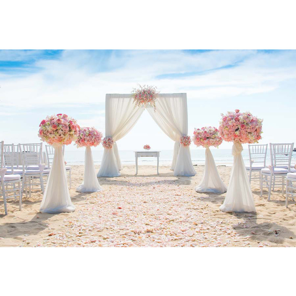 Beach Wedding Party Backdrop For Photography Printed Pink