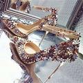 Moda Apontado Toe Mulheres Bombas Mary Janes Flores Projeto 10 CM sapatos de Salto Alto com Tira No Tornozelo Vestido de Noiva Sapatos Mulher Zapatos Mujer