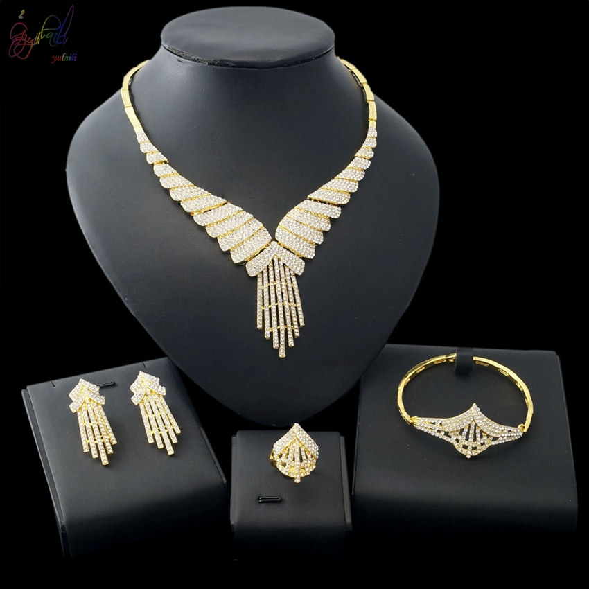 YULAILI Free Delivery Hot Sell Popular Design Ladies Costume Gold Color Alloy Jewelry Sets yulaili free delivery hot sell factory ethiopia design copper alloy four pieces ladies big jewelry sets