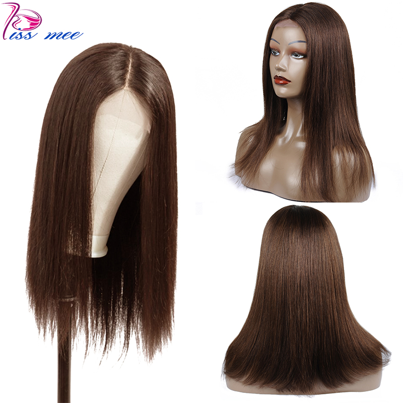 Kiss Mee Light Brown Lace Front Human Hair Wigs # 4 Long Straight 13*4 Frontal Wig 10-30Inch Brazilian Remy Closure