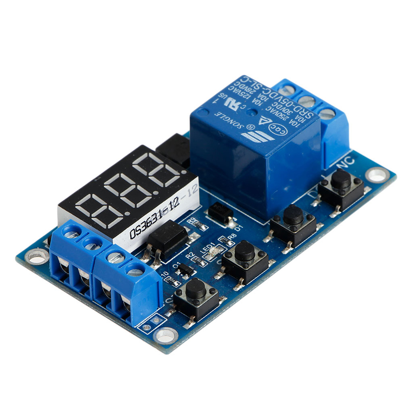 6-30V Relay Module Switch Trigger Time Delay Circuit Timer Cycle Adjustable 12v timing delay relay module cycle timer digital led dual display 0 999 hours