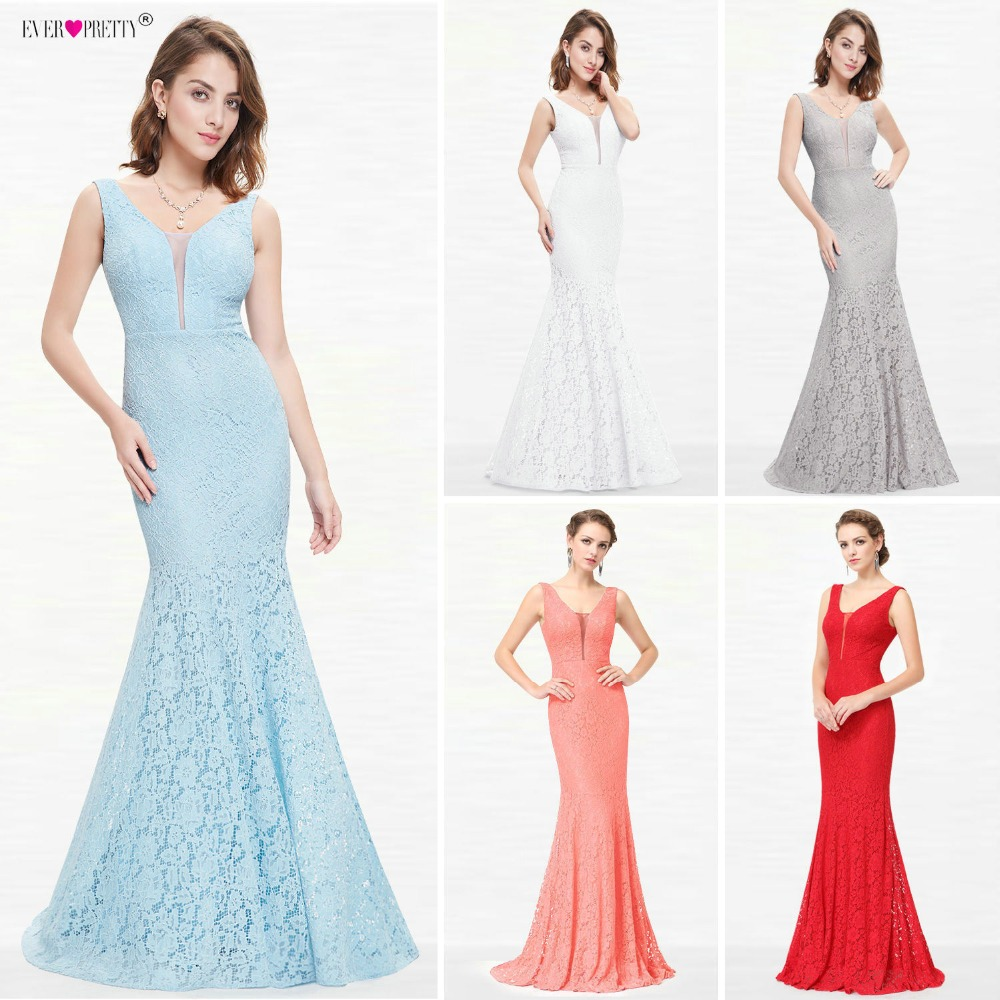 Lace Mermaid Prom Kjoler Long 2018 Ever Pretty EP08838 Juleferie Party Sexy V-Neck Elegante Prom Gala Kjoler Kjoler