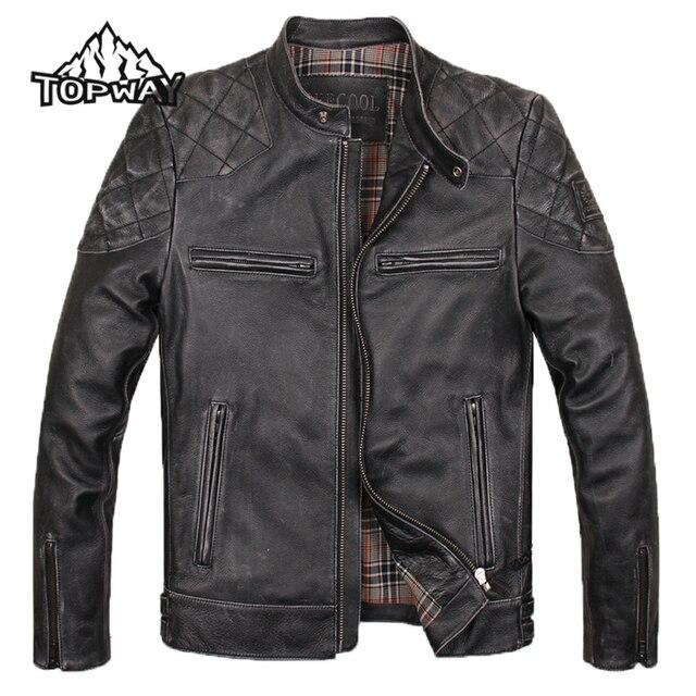 Invierno con estilo del Collar del soporte negro Chaquetas Hombre Leather piel de vaca Outwear Cuero genuino hombres de la locomotora delgada abrigo marrón