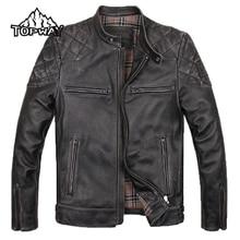 Stylish Winter Stand Collar Black Chaquetas Cuero Hombre Cowskin Outwear Genuine Leather Jacket Men Locomotive Slim Brown Coat