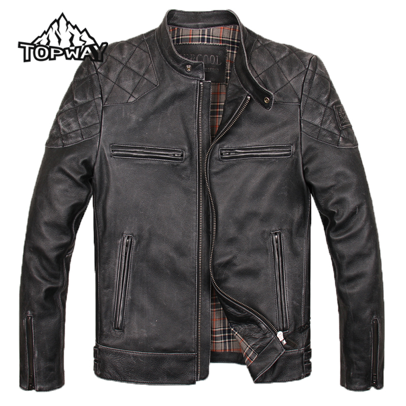 Stylish Winter Stand Collar Black Chaquetas Cuero Hombre Cowskin Outwear Genuine Leather Jacket Men Locomotive Slim Brown Coat
