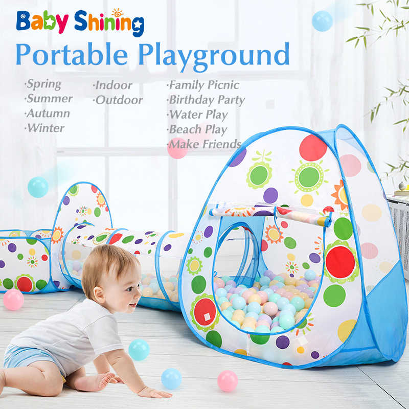 Baby Shining 3PCS Shooting Folding Portable Dry Ball Pool Children Playpen Toy Fence Baby Indoor/Outdoor Games Kids Room Tent