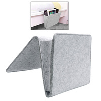 Grey Bed Storage Pockets Felt Bedside Hanging Storage Organizer Holder With 2 Inner Pockets For Bed
