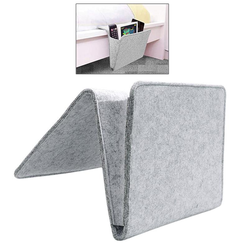 Grey Organizer Felt Bedside Hanging Storage Organizer Bed Storage Pockets Holder with 2 Inner Pockets for Bed Table Sofa