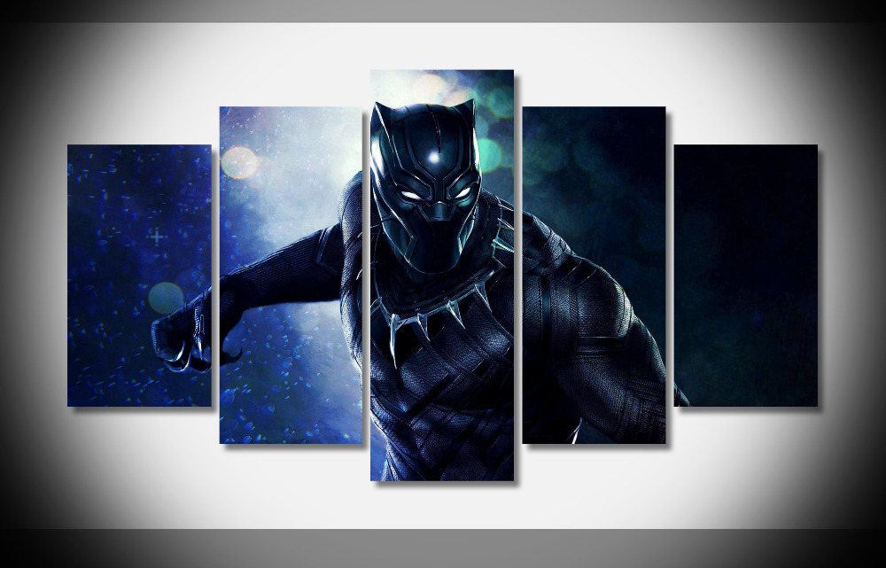 7058 Black Panther 2018 Marvel Movie WallpapersByte poster Framed Gallery wrap art print home wall decor wall picture Already