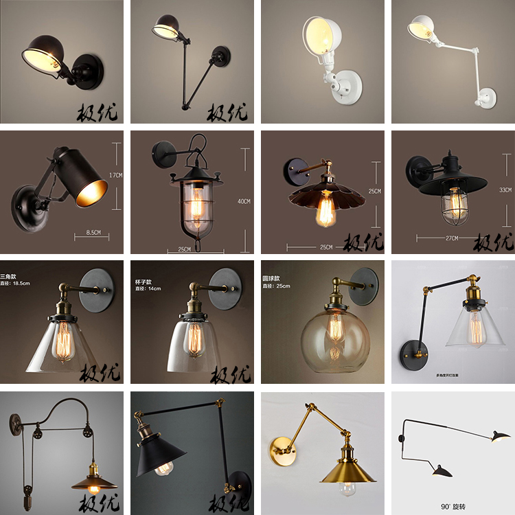 Industrial Vintage Wall Lamps Simple style Wall Lights LOFT Little Umbrella Double Arm Bedside Lamp Restaurant Light Fixtures style classical vintage industrial wall light lampshade restaurant office nostalgic umbrella bronze wall light home decoration
