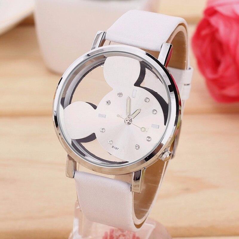 Montres модные изысканные прозрачные полые Для женщин с Микки Маусом часы Цвет кожаный ремешок Студент Спорт Кварцевые часы Zegark