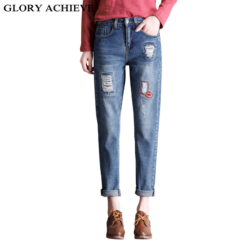 ФОТО 2016 Autumn Ripped Jeans woman holes Patches denim pants embroidered leisure jeans pants for women  blue female jeans trousers
